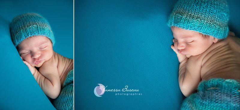 Nouveau-né, photographe Dijon,  2 images gros plan sur fond turquoise